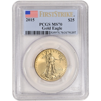2015 American Gold Eagle (1/2 oz) $25 - PCGS MS70 - First Strike