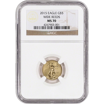 2015 American Gold Eagle (1/10 oz) $5 - NGC MS70 - Wide Reeds