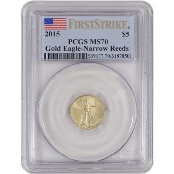 2015 American Gold Eagle (1/10 oz) $5 - PCGS MS70 First Strike - Narrow Reeds
