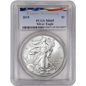 2015 American Silver Eagle - PCGS MS69 - First Strike - Ribbon Flag Label