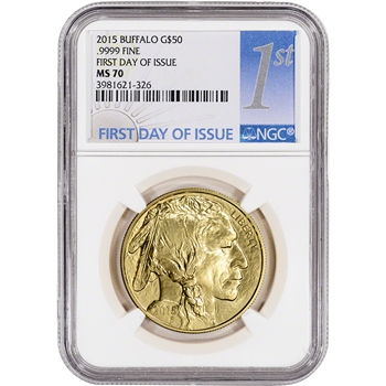 2015 American Gold Buffalo (1 oz) $50 - NGC MS70 - First Day Issue Label
