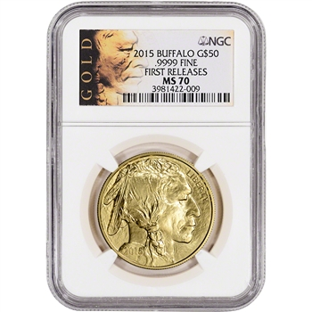 2015 American Gold Buffalo (1 oz) $50 - NGC MS70 - First Releases - ALS Label