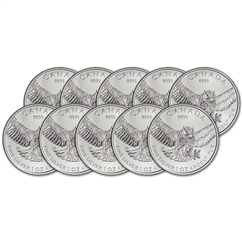 2015 Canada Silver Great Horned Owl (1 oz) $5 BU - Ten 10 Coins