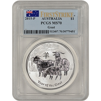 2015-P Australia Silver Year of the Goat (1 oz) $1 - PCGS MS70 First Strike