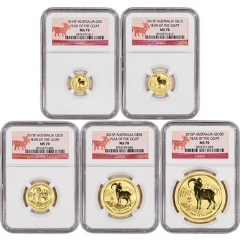 5-pc. 2015-P Australia Gold Lunar 'Year of the Goat' Set - NGC MS70 - Goat Label