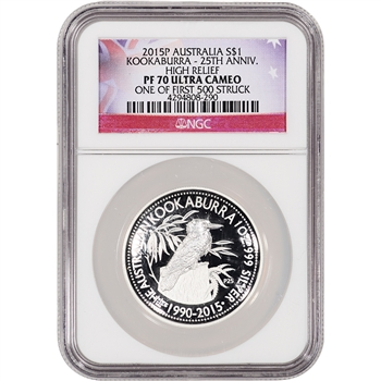 2015-P Australia Silver Kookaburra High Relief Proof (1 oz) $1 - NGC PF70 UCAM