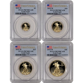 2015-W American Gold Eagle Proof 4-pc Year Set - PCGS PR70 - First Strike