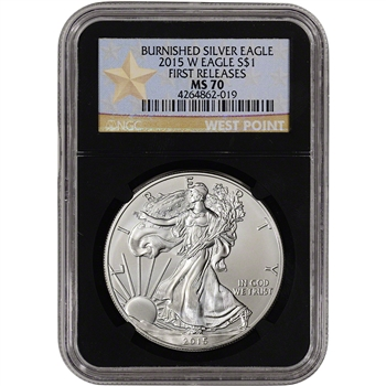 2015-W American Silver Eagle Burnished - NGC MS70 - First Releases Star Retro