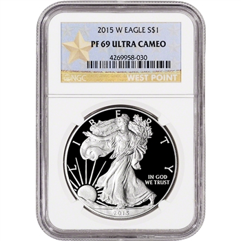2015-W American Silver Eagle Proof - NGC PF69 UCAM - West Point Star Label