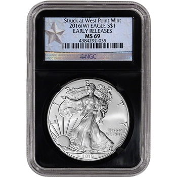 2016-(W) American Silver Eagle - NGC MS69 - Early Releases  Blue Star Retro