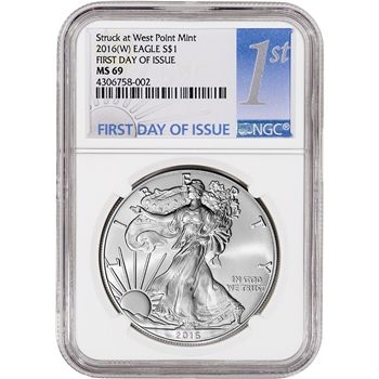 2016-(W) American Silver Eagle - NGC MS69 - First Day of Issue - 1st Label