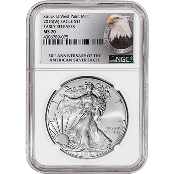 2016-(W) American Silver Eagle - NGC MS70 - Early Releases - 30th Anniversary