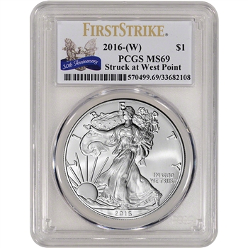 2016-(W) American Silver Eagle - PCGS MS69 - First Strike 30th Anniversary Label