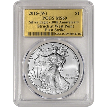 2016-(W) American Silver Eagle - PCGS MS69 - First Strike - Gold Foil Label