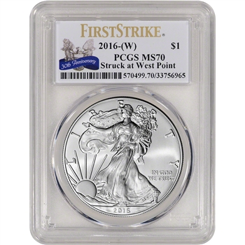 2016-(W) American Silver Eagle - PCGS MS70 - First Strike 30th Anniversary Label