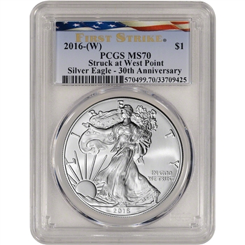 2016-(W) American Silver Eagle - PCGS MS70 - First Strike - Ribbon Flag Label