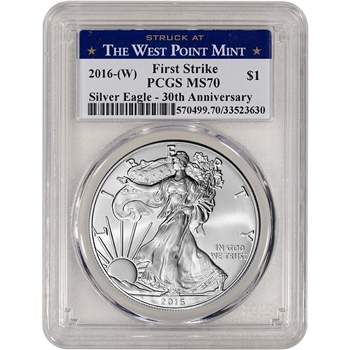 2016-(W) American Silver Eagle - PCGS MS70 - First Strike - West Point Label