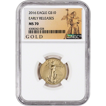 2016 American Gold Eagle (1/4 oz) $10 - NGC MS70 - Early Releases ALS Label
