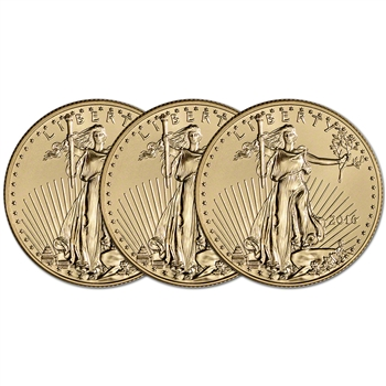 2016 American Gold Eagle (1/2 oz) $25 - BU - Three 3 Coins