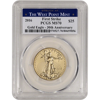 2016 American Gold Eagle (1/2 oz) $25 - PCGS MS70 - First Strike - WP Label