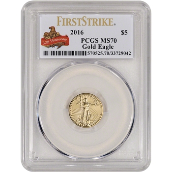 2016 American Gold Eagle (1/10 oz) $5 - PCGS MS70 First Strike Anniversary Label