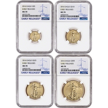 2016 American Gold Eagle 4-pc Year Set - NGC MS70 - Early Releases - Large Label