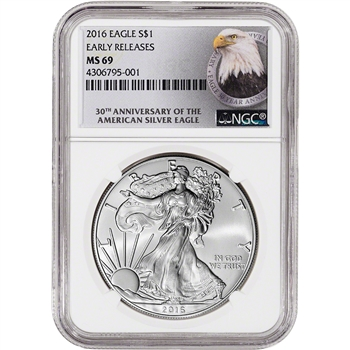 2016 American Silver Eagle - NGC MS69 - Early Releases - 30th Anniversary Label