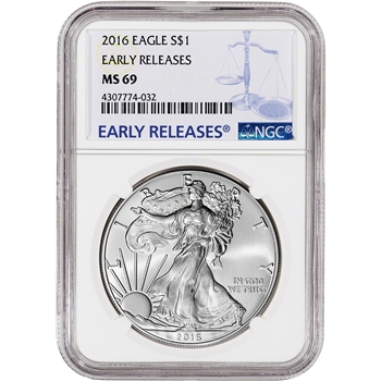 2016 American Silver Eagle - NGC MS69 - Early Releases - NGC Large Label