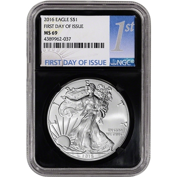 2016 American Silver Eagle - NGC MS69 - First Day of Issue - 1st Label - Retro
