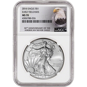 2016 American Silver Eagle - NGC MS70 - Early Releases - 30th Anniversary Label