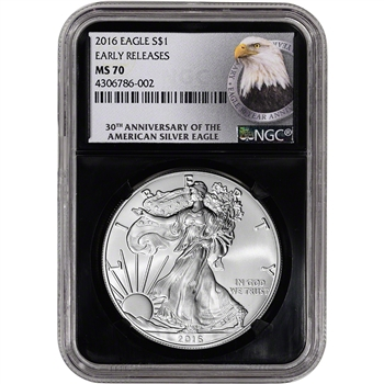 2016 American Silver Eagle - NGC MS70 - Early Releases - 30th Anniversary Retro
