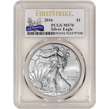 2016 American Silver Eagle - PCGS MS70 - First Strike - 30th Anniversary Label