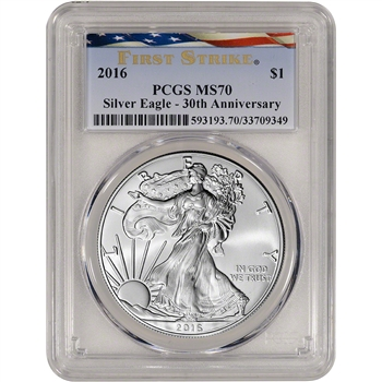 2016 American Silver Eagle - PCGS MS70 - First Strike - Ribbon Flag Label