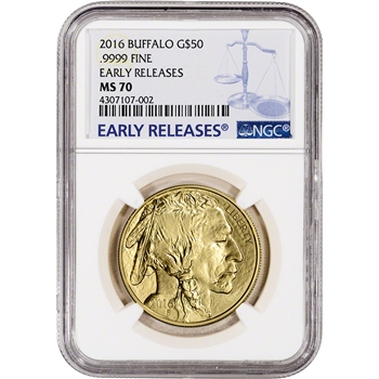 2016 American Gold Buffalo (1 oz) $50 - NGC MS70 - Early Releases Large Label