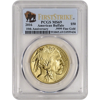 2016 American Gold Buffalo (1 oz) $50 - PCGS MS69 - First Strike - Buffalo Label