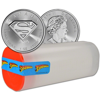 2016 Canada Silver Superman (1 oz) $5 BU - 1 Roll - 25 Coins in 1 Tube