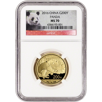 2016 China Gold Panda (15 g) 200 Yuan - NGC MS70 - Red Panda Label
