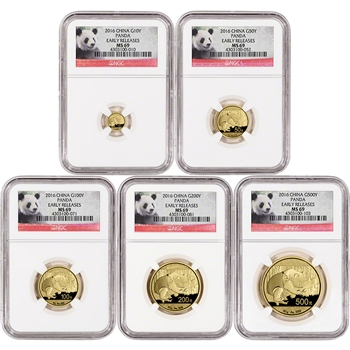 2016 China Gold Panda - 5-pc. Year Set - NGC MS69 - Early Releases - Panda Label