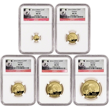 2016 China Gold Panda - 5-pc. Year Set - NGC MS70 - Red Panda Label