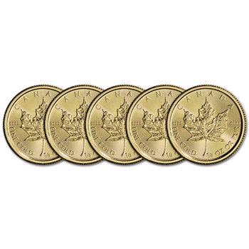 2016 Canada Gold Maple Leaf - 1/4 oz - $10 - Five 5 Coins