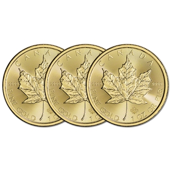 2016 Canada Gold Maple Leaf - 1 oz - $50 - Three 3 Coins