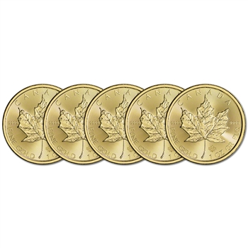 2016 Canada Gold Maple Leaf - 1 oz - $50 - Five 5 Coins