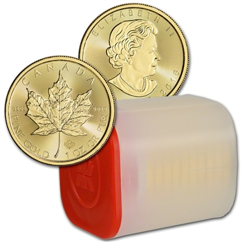 2016 Canada Gold Maple Leaf - 1 oz - $50 - 1 Roll Ten 10 Coin Mint Tube