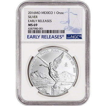2016 Mexico Silver Libertad (1 oz) 1 Onza - NGC MS69 - Early Releases