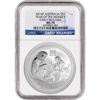 2016-P Australia Silver Lunar Year of the Monkey (1 oz) $1 - NGC MS70 - ER