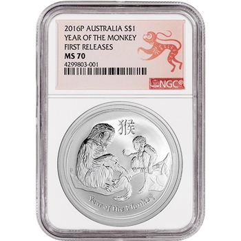 2016-P Australia Silver Lunar Year of the Monkey (1 oz) $1 - NGC MS70 - FR