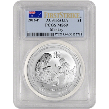 2016-P Australia Silver Lunar Year of the Monkey (1 oz) $1 - PCGS MS69 - FS