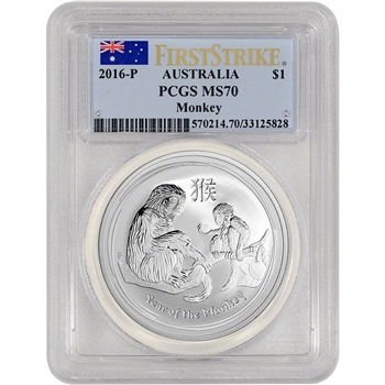 2016-P Australia Silver Lunar Year of the Monkey (1 oz) $1 - PCGS MS70 - FS