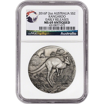 2016-P Australia Silver Antiqued Kangaroo (2 oz) $2 - NGC MS69 Early Releases