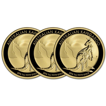 2016 Australia Gold Kangaroo - 1 oz - $100 - BU - Three 3 Coins